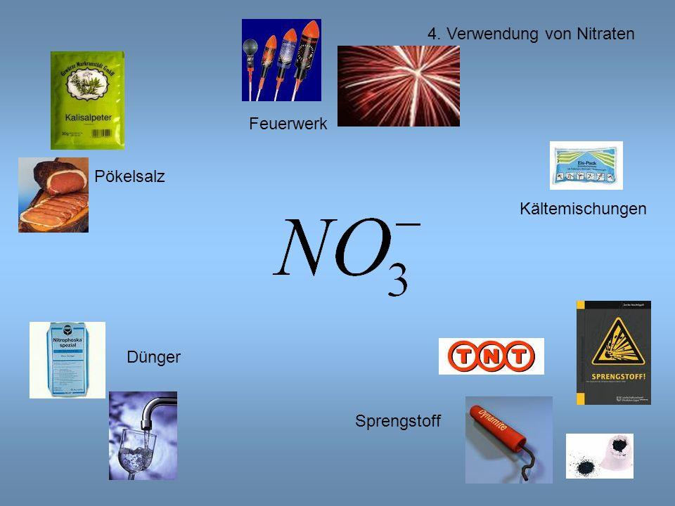 4. Verwendung von Nitraten Pökelsalz Dünger Sprengstoff Kältemischungen Feuerwerk