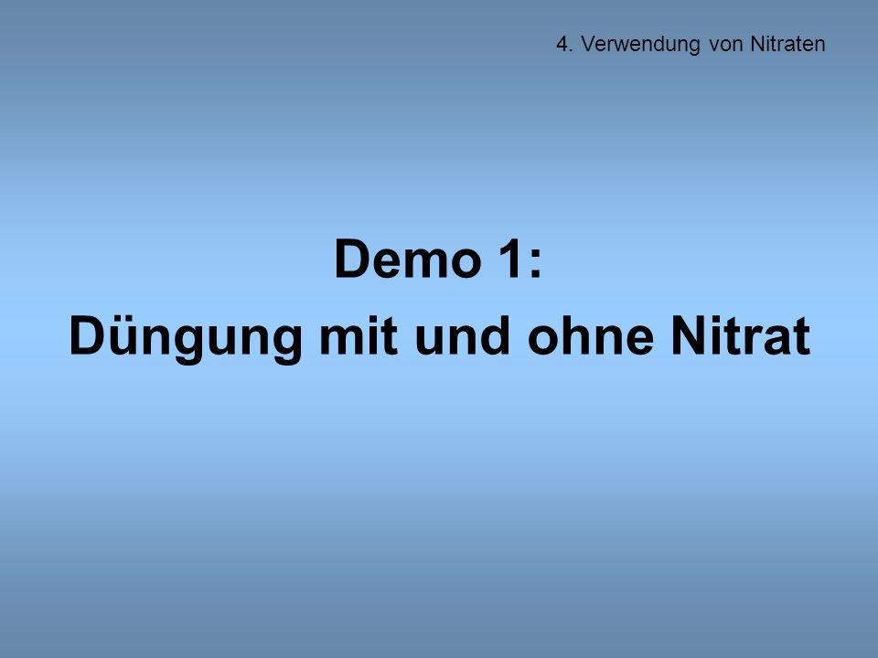 Demo 1: Düngung mit und ohne Nitrat 4. Verwendung von Nitraten