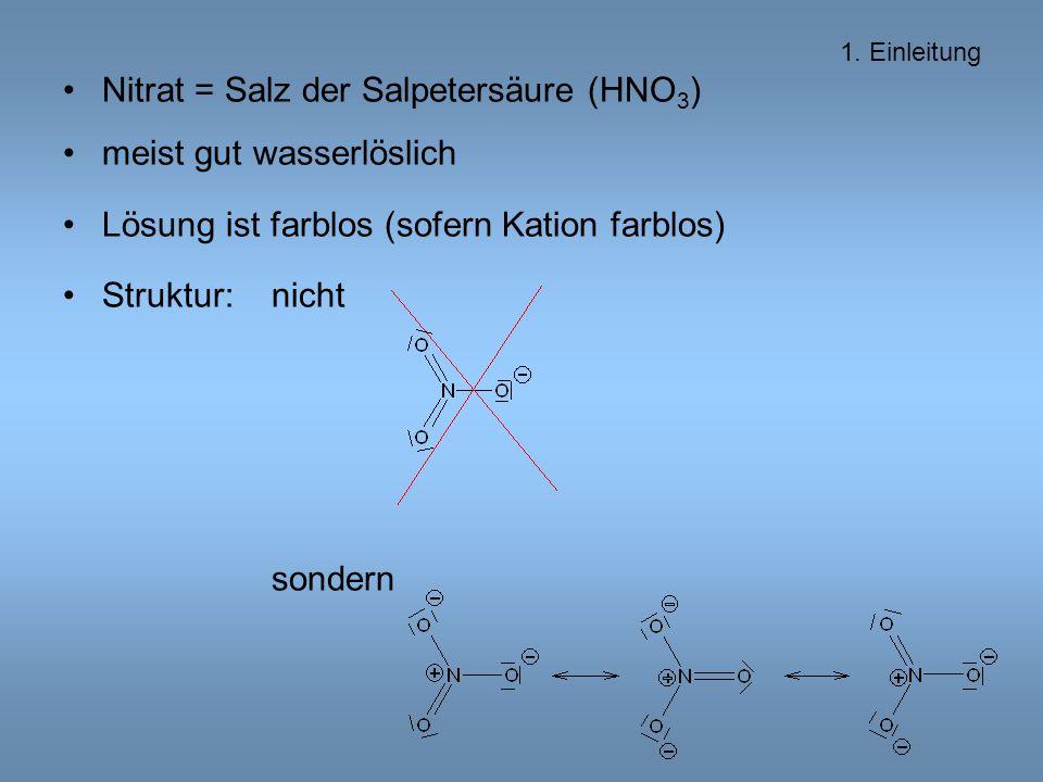 Nitrat = Salz der Salpetersäure (HNO 3 ) meist gut wasserlöslich Lösung ist farblos (sofern Kation farblos) Struktur: nicht sondern 1.