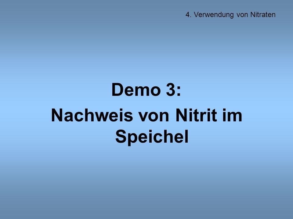 Demo 3: Nachweis von Nitrit im Speichel 4. Verwendung von Nitraten