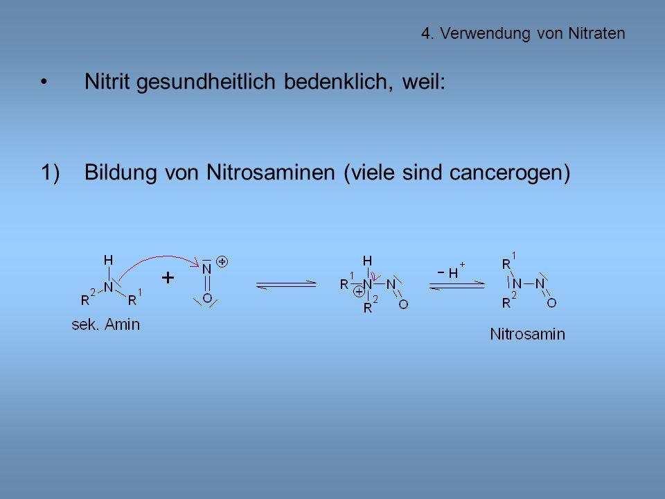 Nitrit gesundheitlich bedenklich, weil: 1)Bildung von Nitrosaminen (viele sind cancerogen) 4.