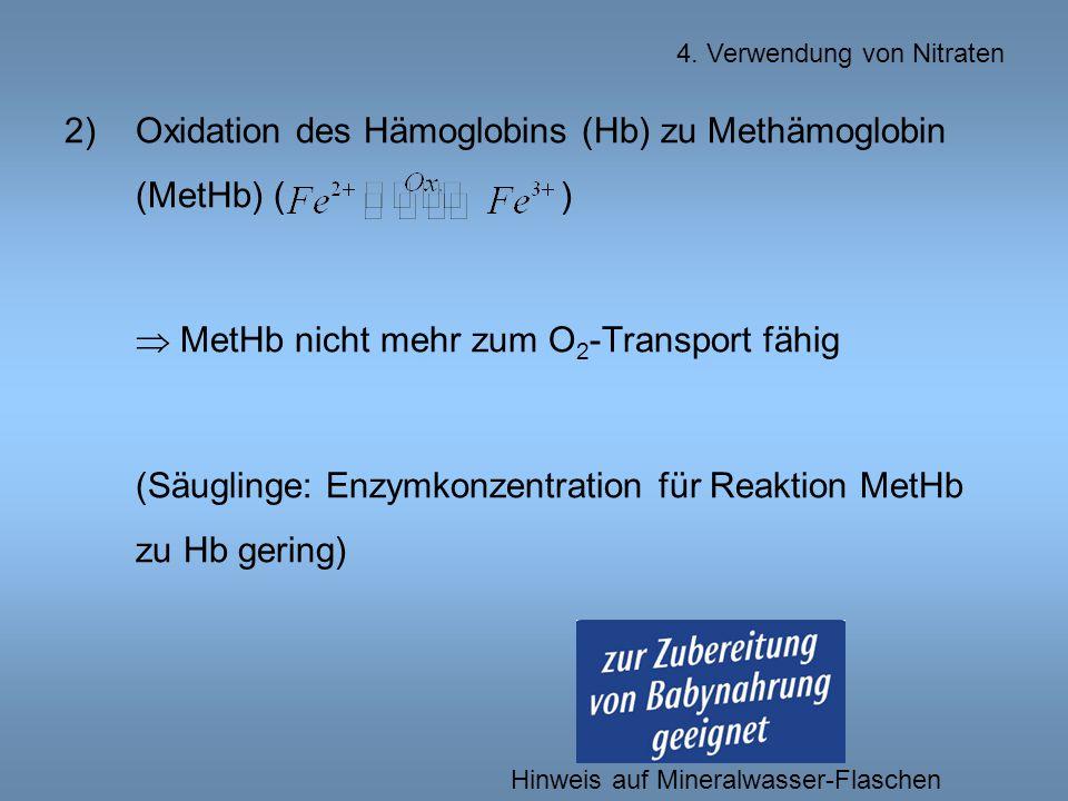 2)Oxidation des Hämoglobins (Hb) zu Methämoglobin (MetHb) ( )  MetHb nicht mehr zum O 2 -Transport fähig (Säuglinge: Enzymkonzentration für Reaktion MetHb zu Hb gering) 4.