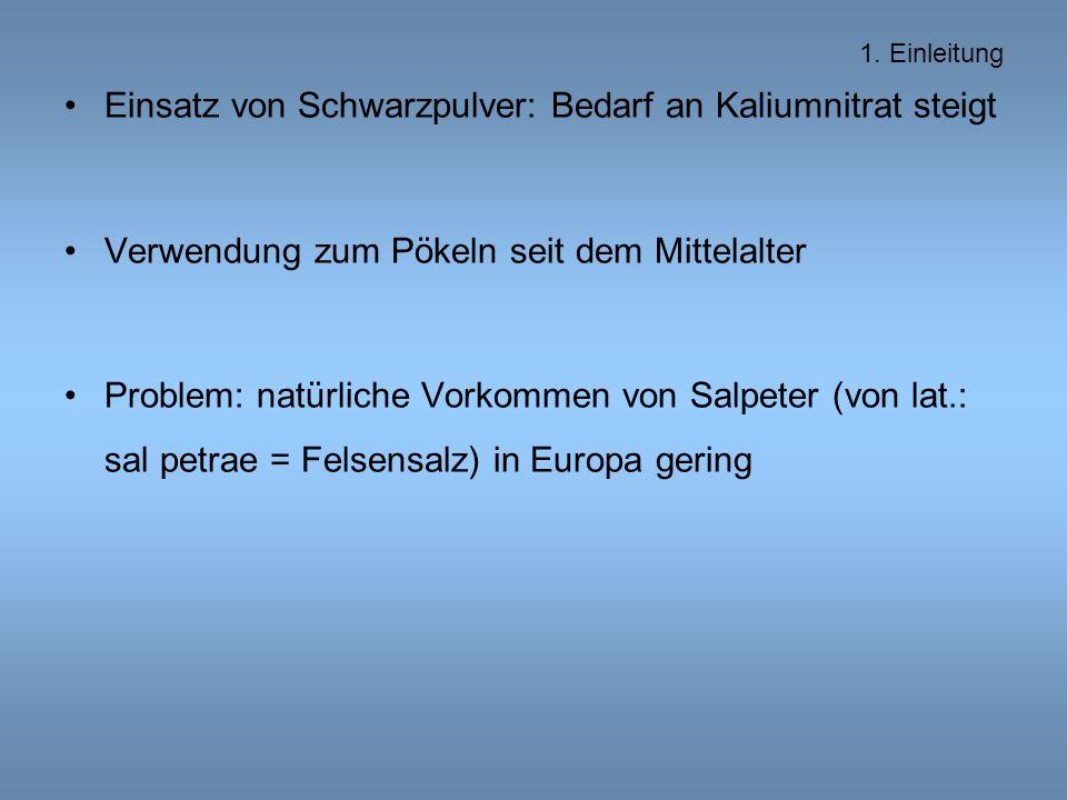 Einsatz von Schwarzpulver: Bedarf an Kaliumnitrat steigt Verwendung zum Pökeln seit dem Mittelalter Problem: natürliche Vorkommen von Salpeter (von lat.: sal petrae = Felsensalz) in Europa gering