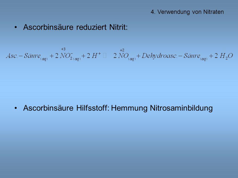 Ascorbinsäure reduziert Nitrit: Ascorbinsäure Hilfsstoff: Hemmung Nitrosaminbildung 4.