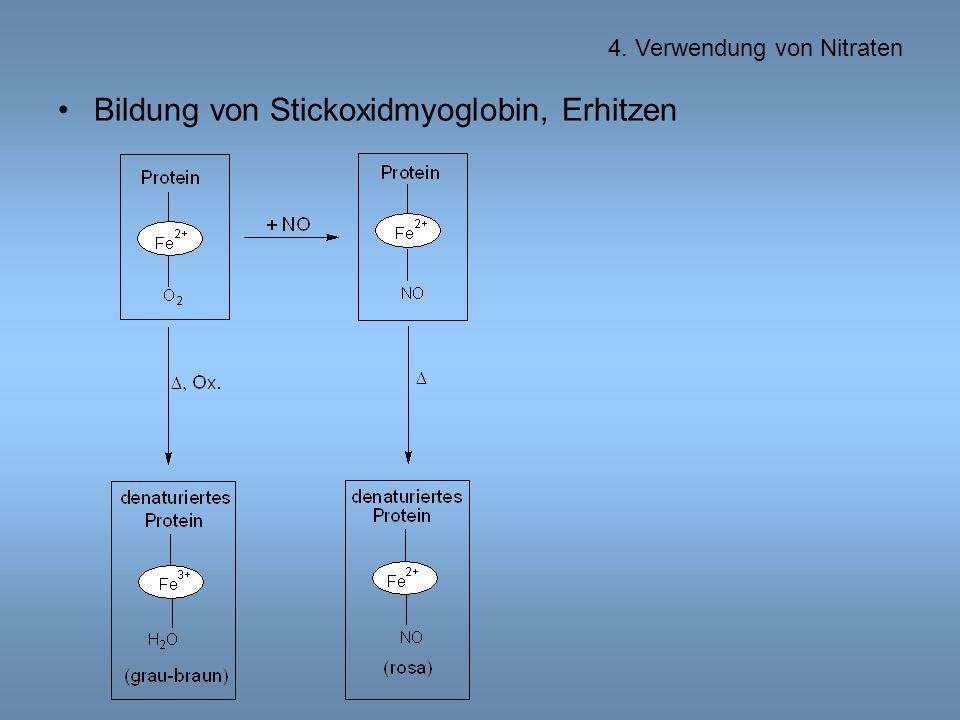 Bildung von Stickoxidmyoglobin, Erhitzen 4. Verwendung von Nitraten