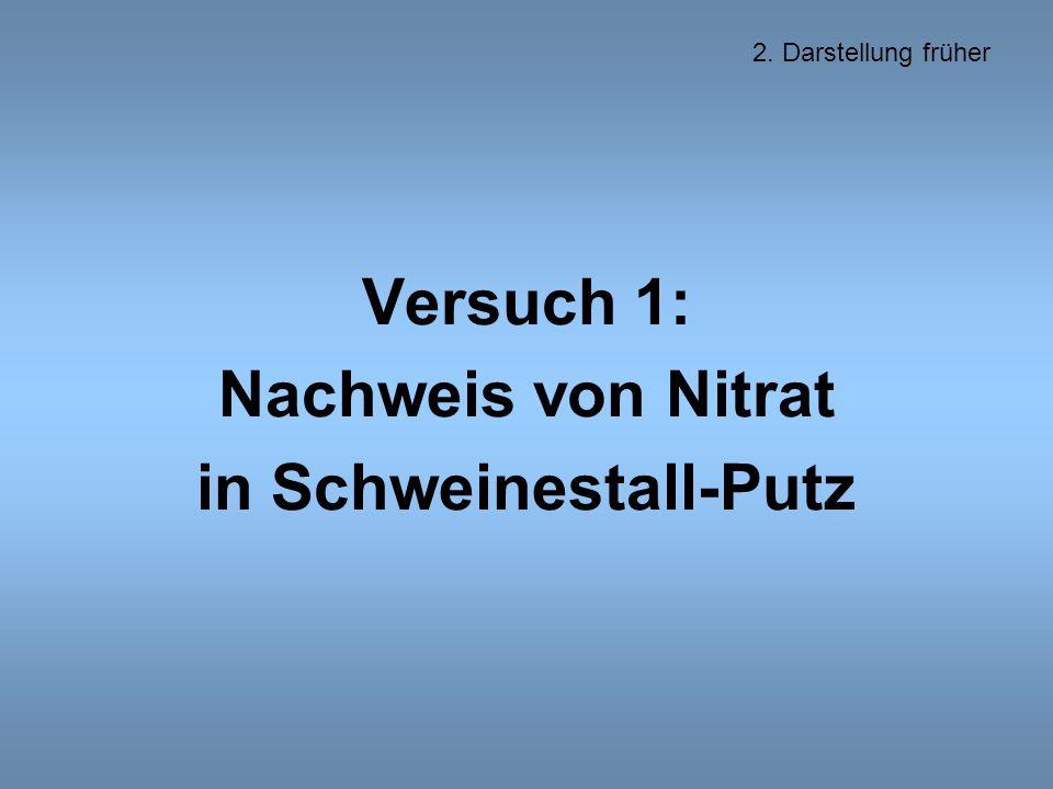 Versuch 1: Nachweis von Nitrat in Schweinestall-Putz 2. Darstellung früher