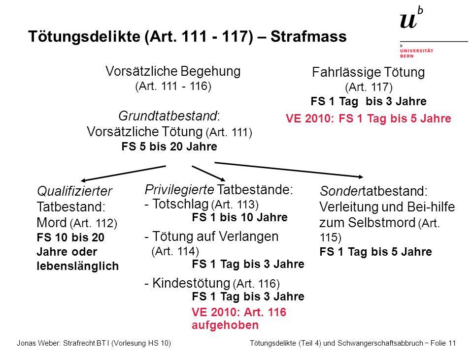Jonas Weber: Strafrecht BT I (Vorlesung HS 10) Tötungsdelikte (Teil 4) und Schwangerschaftsabbruch − Folie 11 Tötungsdelikte (Art.