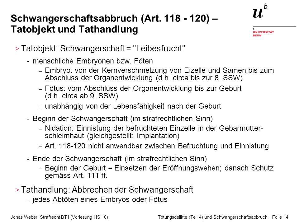 Jonas Weber: Strafrecht BT I (Vorlesung HS 10) Tötungsdelikte (Teil 4) und Schwangerschaftsabbruch − Folie 14 Schwangerschaftsabbruch (Art. 118 - 120)