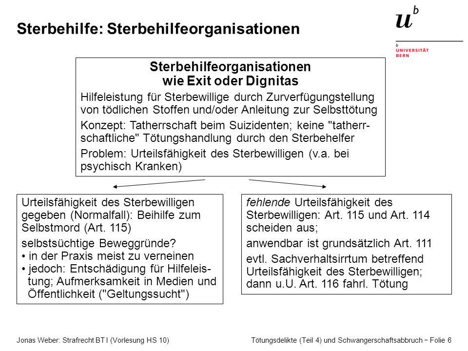Jonas Weber: Strafrecht BT I (Vorlesung HS 10) Tötungsdelikte (Teil 4) und Schwangerschaftsabbruch − Folie 6 Sterbehilfe: Sterbehilfeorganisationen St