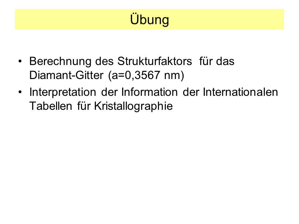 Übung Berechnung des Strukturfaktors für das Diamant-Gitter (a=0,3567 nm) Interpretation der Information der Internationalen Tabellen für Kristallographie