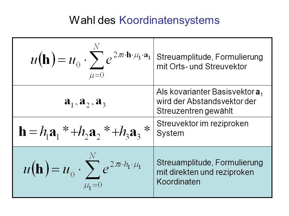 """Vorteile der nicht orthonormierten Koordinatensystems bei ko- und kontravarianten Basen Das Skalarprodukt im Exponenten sieht immer aus """"wie orthonormiert Die Koordinaten sind dimensionslose Zahlen Die Bedingung für maximale Streuamplitude, ganzzahliges h 1, ist unmittelbar zu erkennen Aber: Verbindung zum Experiment nicht unmittelbar ersichtlich, denn –die Koordinate h 1 ist eine abstrakte Zahl, keine Messgröße"""