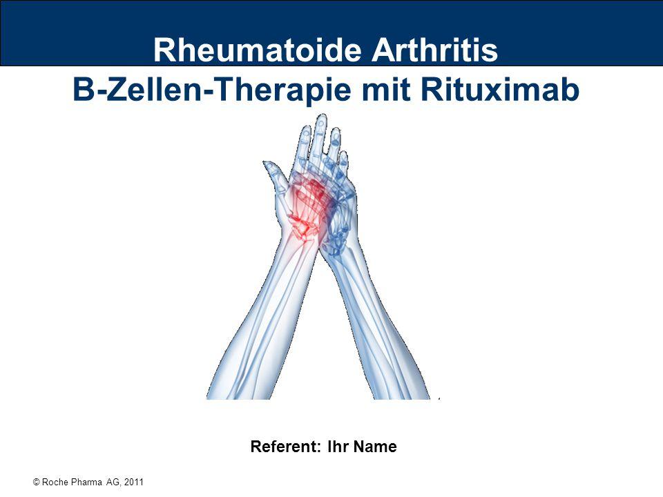 © Roche Pharma AG, 2011 22 Wenn das Immunsystem verrückt spielt Überreaktion des Immunsystems: B-Zellen greifen die Gelenkinnenhaut an Dadurch wird eine dauerhafte Entzündung ausgelöst, die unbehandelt zur Zerstörung der Gelenke (Knorpel, Knochen) und bis zum Verlust der Beweglichkeit führen kann