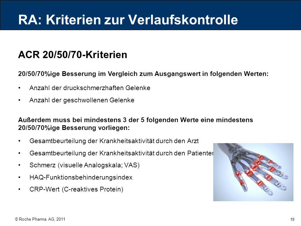 © Roche Pharma AG, 2011 19 RA: Kriterien zur Verlaufskontrolle ACR 20/50/70-Kriterien Anzahl der druckschmerzhaften Gelenke Anzahl der geschwollenen G