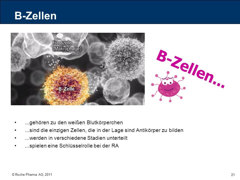 © Roche Pharma AG, 2011 21 B-Zellen...gehören zu den weißen Blutkörperchen...sind die einzigen Zellen, die in der Lage sind Antikörper zu bilden...wer