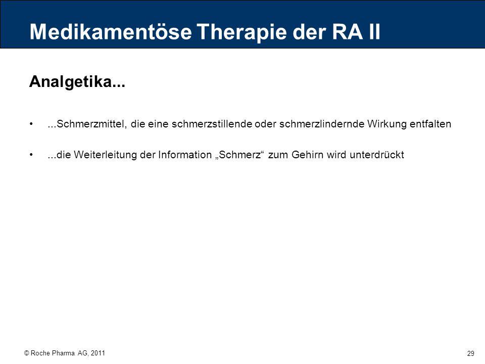 © Roche Pharma AG, 2011 29 Medikamentöse Therapie der RA II Analgetika......Schmerzmittel, die eine schmerzstillende oder schmerzlindernde Wirkung ent