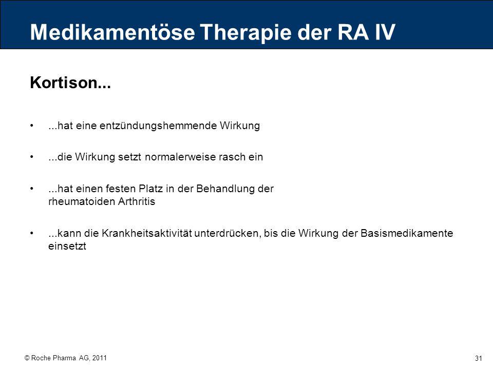 © Roche Pharma AG, 2011 31 Medikamentöse Therapie der RA IV Kortison......hat eine entzündungshemmende Wirkung...die Wirkung setzt normalerweise rasch