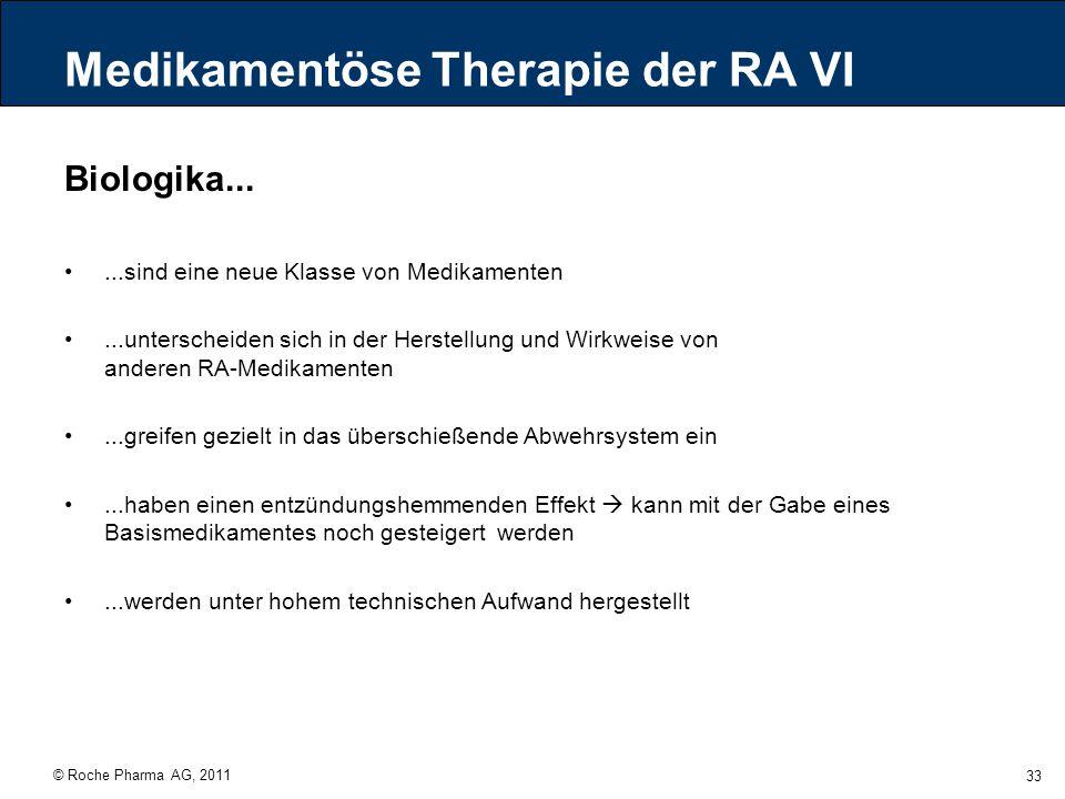 © Roche Pharma AG, 2011 33 Medikamentöse Therapie der RA VI Biologika......sind eine neue Klasse von Medikamenten...unterscheiden sich in der Herstell