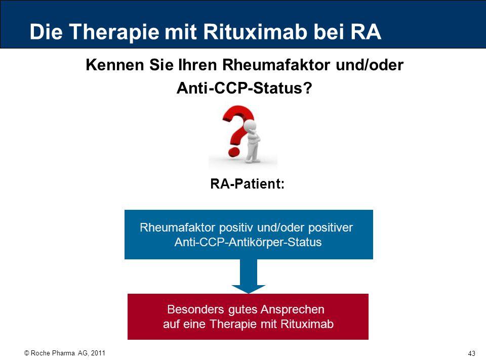 © Roche Pharma AG, 2011 43 Die Therapie mit Rituximab bei RA Kennen Sie Ihren Rheumafaktor und/oder Anti-CCP-Status? Rheumafaktor positiv und/oder pos