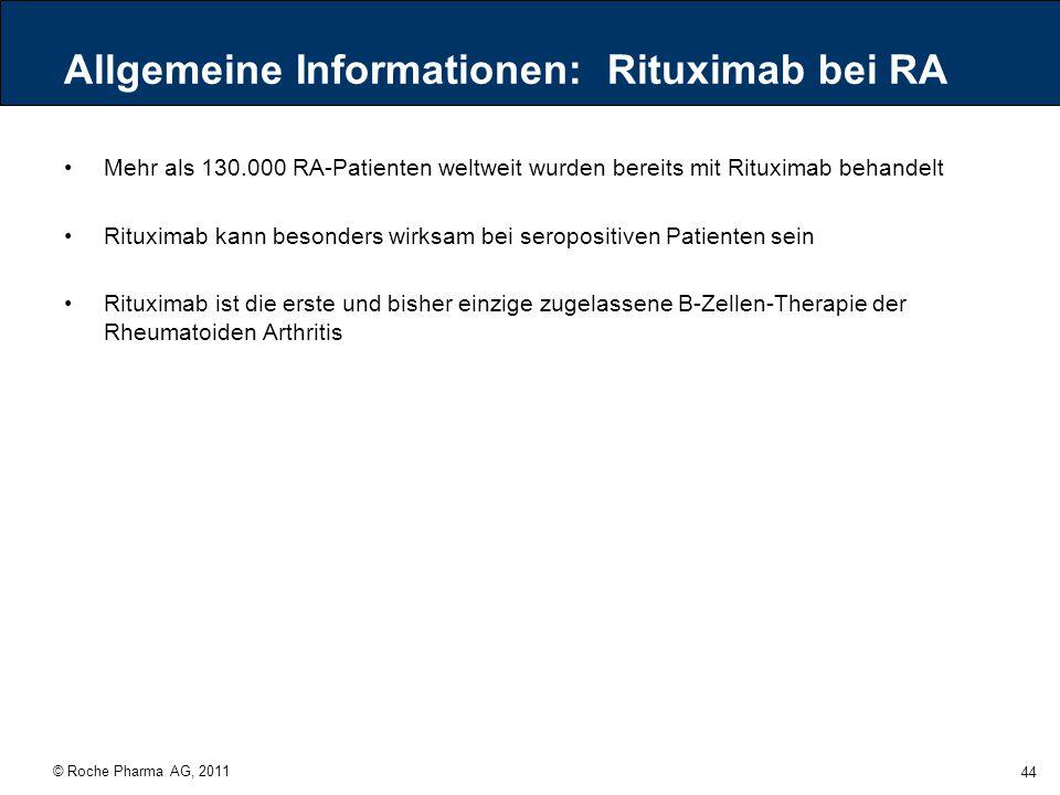 © Roche Pharma AG, 2011 44 Allgemeine Informationen: Rituximab bei RA Mehr als 130.000 RA-Patienten weltweit wurden bereits mit Rituximab behandelt Ri