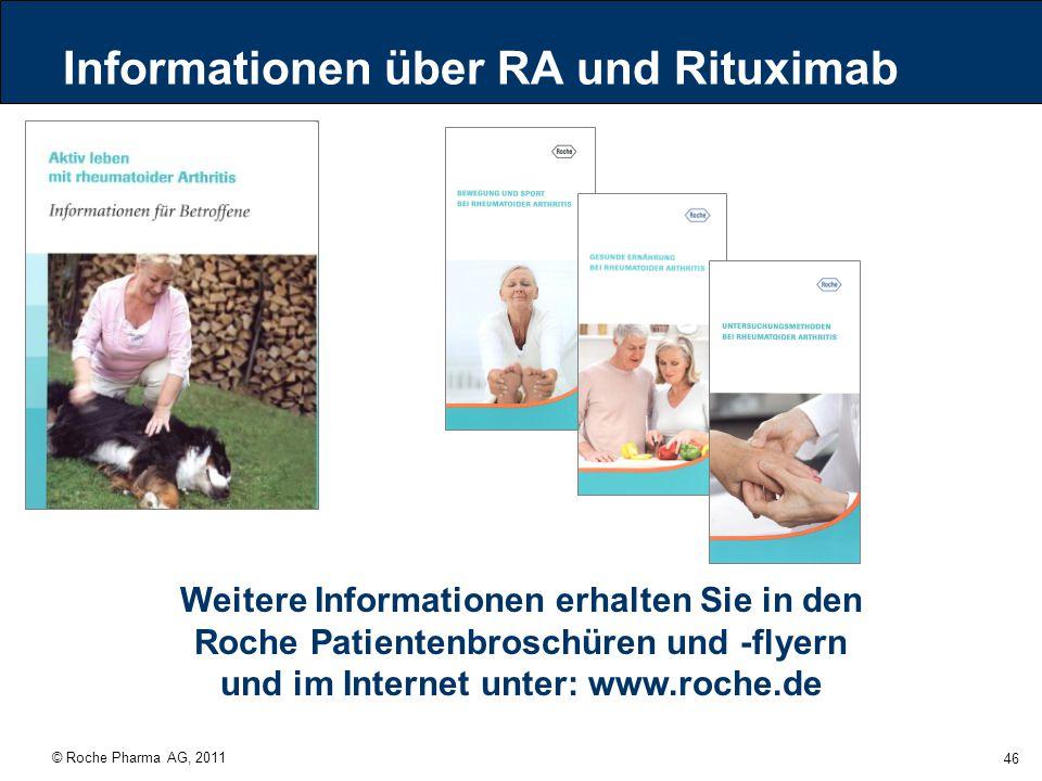 © Roche Pharma AG, 2011 46 Informationen über RA und Rituximab Weitere Informationen erhalten Sie in den Roche Patientenbroschüren und -flyern und im