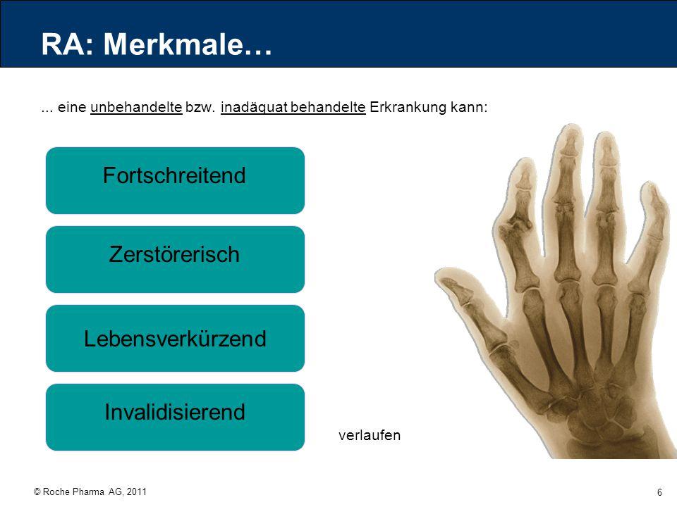 © Roche Pharma AG, 2011 6 RA: Merkmale…... eine unbehandelte bzw. inadäquat behandelte Erkrankung kann: Fortschreitend Zerstörerisch Lebensverkürzend