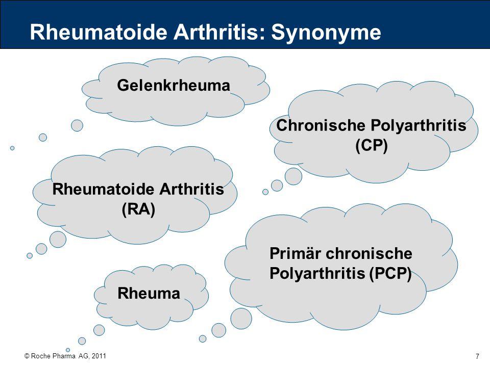 © Roche Pharma AG, 2011 8 RA: Die Symptome Morgensteifigkeit > 1 Stunde Arthritis > 3 Gelenkregionen Beteiligung von Handgelenk, Fingergrund (MCP)- oder Fingermittel (PIP)-Gelenken Symmetrisches Verteilungsmuster Subkutane Rheumaknoten Positiver Rheumafaktor Typische radiologische Veränderungen Mindestens 4 von 7 Symptomen sind notwendig.
