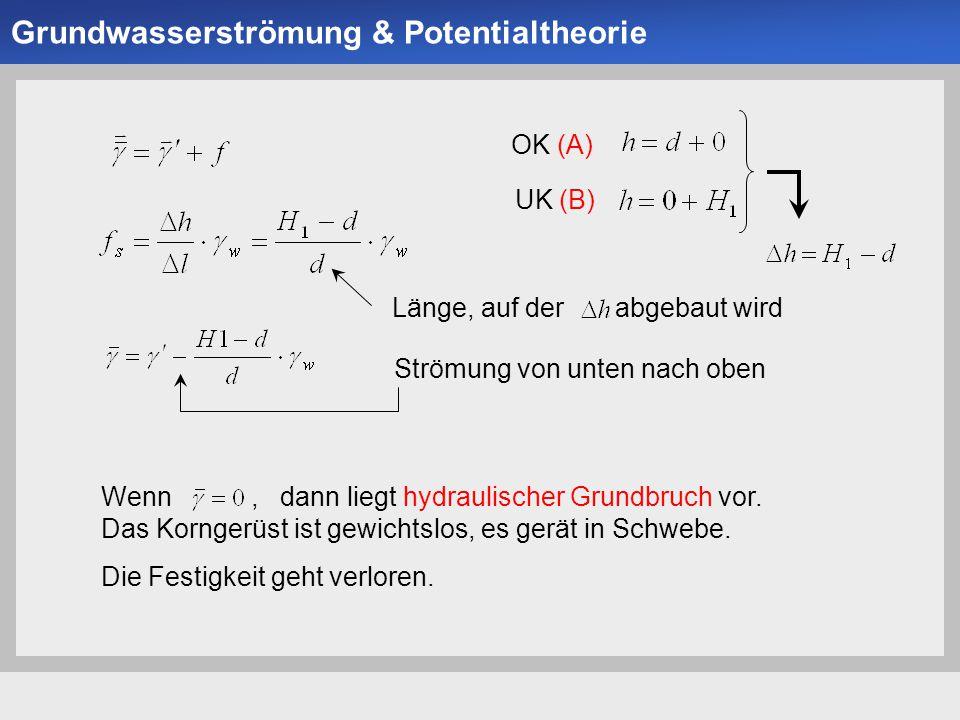 Universität der Bundeswehr München Institut für Bodenmechanik und Grundbau -11- Projektübersicht Länge, auf der abgebaut wird OK (A) UK (B) Strömung v