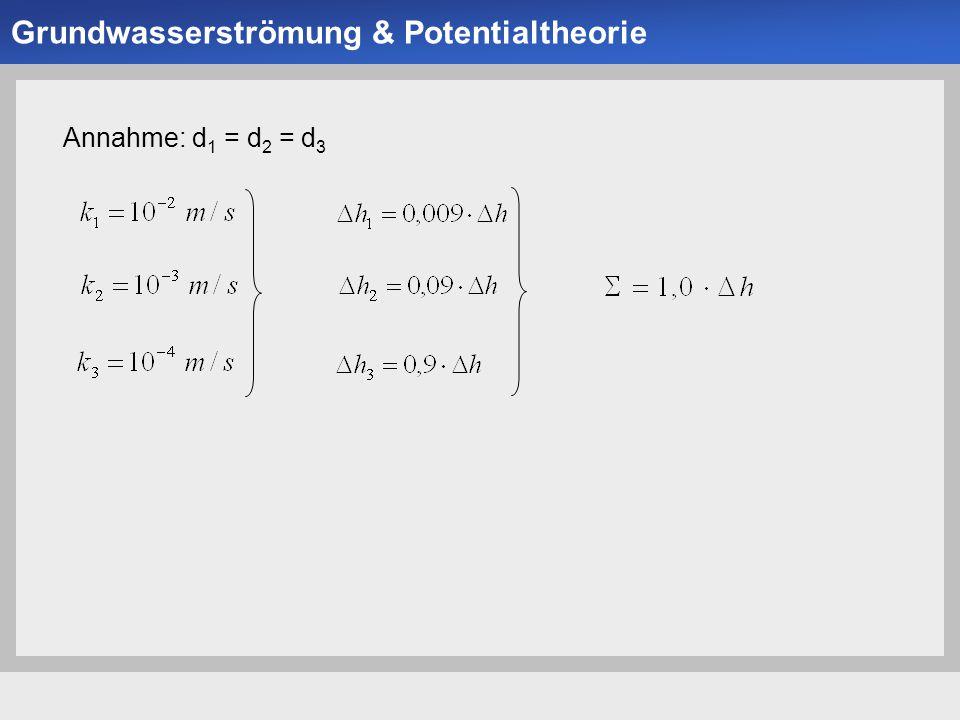 Universität der Bundeswehr München Institut für Bodenmechanik und Grundbau -15- Annahme: d 1 = d 2 = d 3 Grundwasserströmung & Potentialtheorie