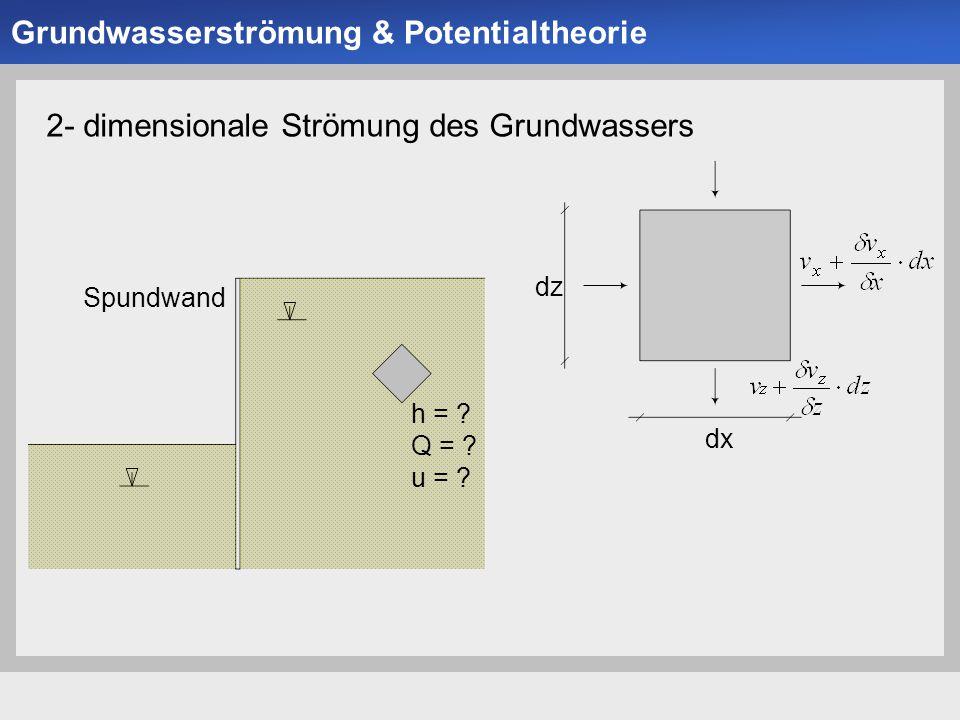 Universität der Bundeswehr München Institut für Bodenmechanik und Grundbau -16- 2- dimensionale Strömung des Grundwassers Spundwand h = ? Q = ? u = ?