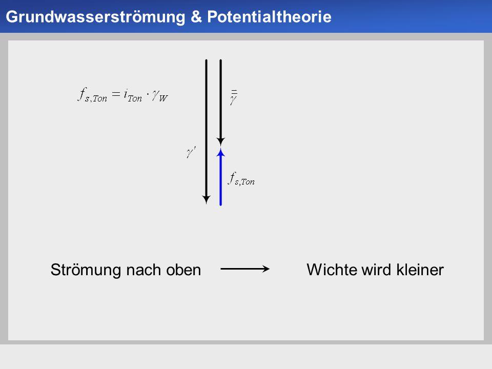 Universität der Bundeswehr München Institut für Bodenmechanik und Grundbau -4--4- Strömung nach oben Wichte wird kleiner Grundwasserströmung & Potenti