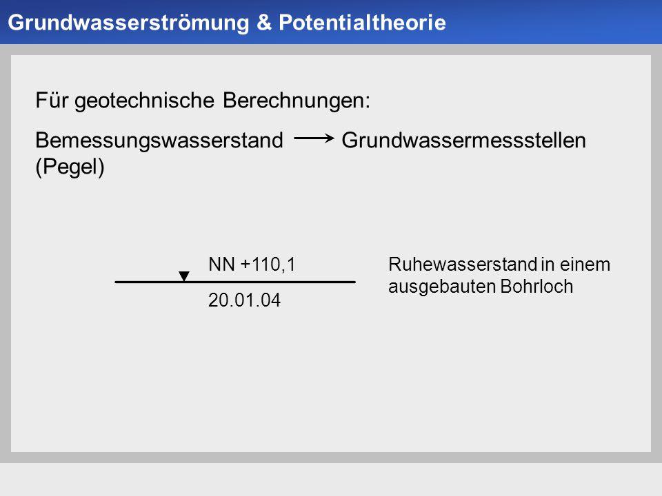 Universität der Bundeswehr München Institut für Bodenmechanik und Grundbau -17- Kontinuitätsbedingung oder auch Kombiniert mit dem Gesetz von Darcy, folgt die Differentialgleichung der Grundwasserströmung Grundwasserströmung & Potentialtheorie