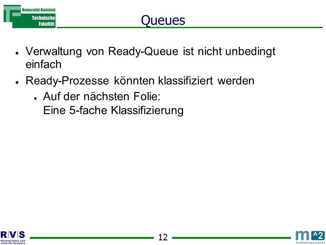 12 Queues ● Verwaltung von Ready-Queue ist nicht unbedingt einfach ● Ready-Prozesse könnten klassifiziert werden ● Auf der nächsten Folie: Eine 5-fache Klassifizierung