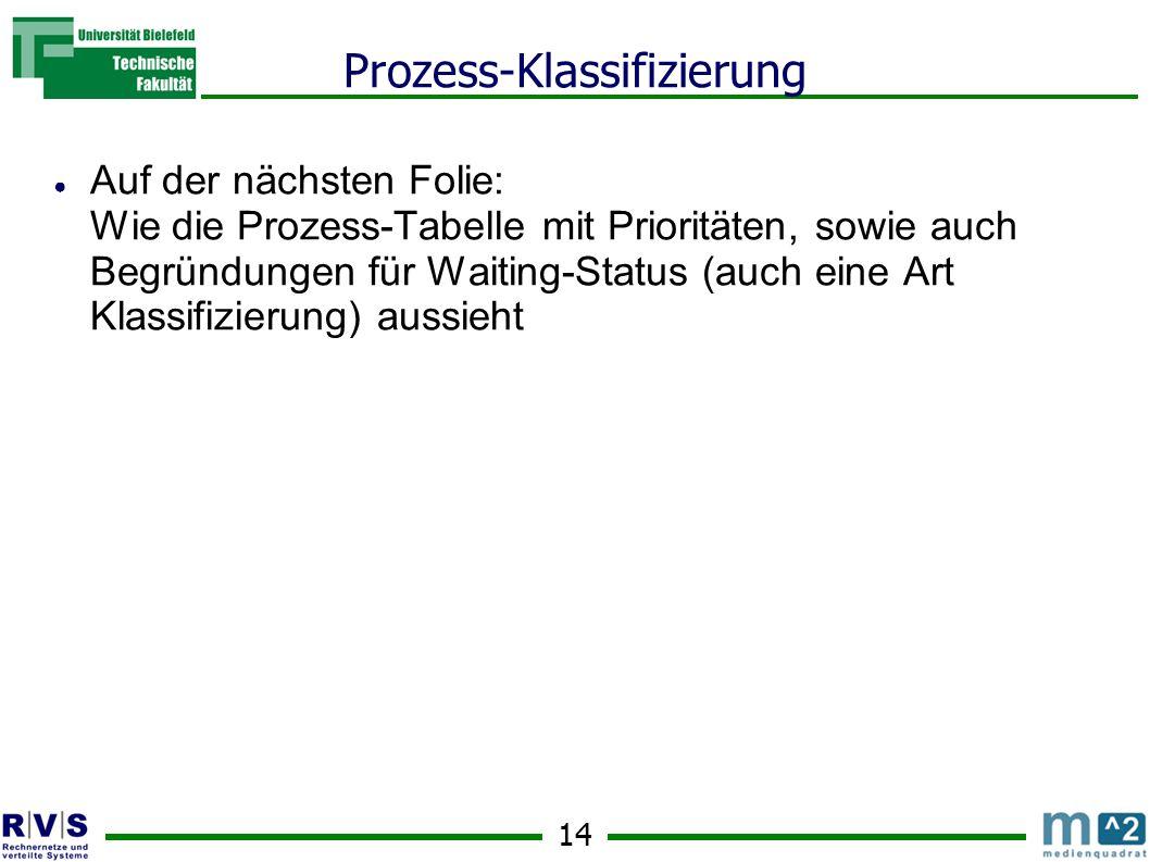 14 Prozess-Klassifizierung ● Auf der nächsten Folie: Wie die Prozess-Tabelle mit Prioritäten, sowie auch Begründungen für Waiting-Status (auch eine Art Klassifizierung) aussieht