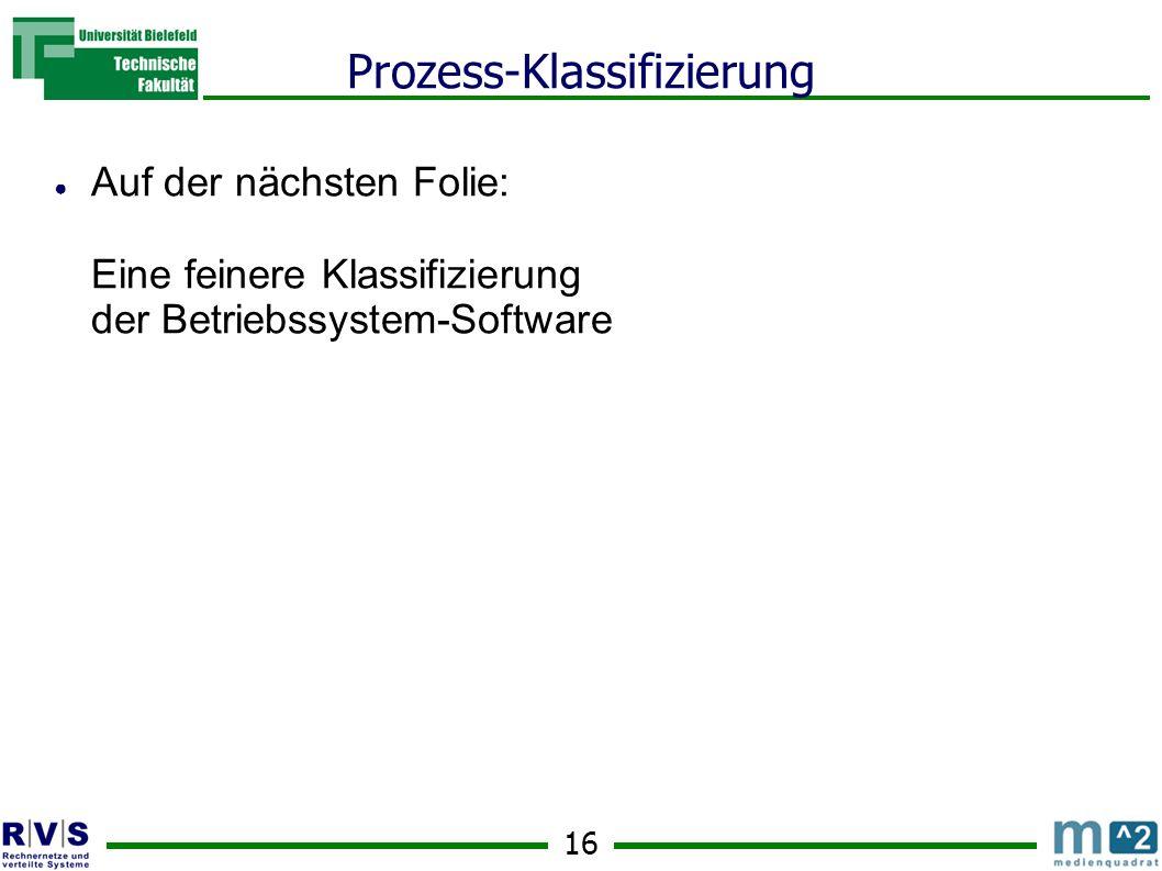 16 Prozess-Klassifizierung ● Auf der nächsten Folie: Eine feinere Klassifizierung der Betriebssystem-Software