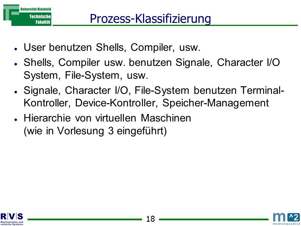 18 Prozess-Klassifizierung ● User benutzen Shells, Compiler, usw.