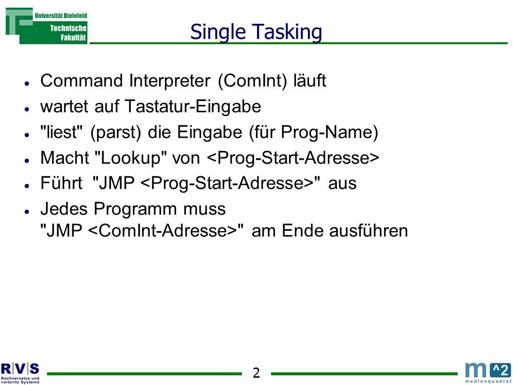 2 Single Tasking ● Command Interpreter (ComInt) läuft ● wartet auf Tastatur-Eingabe ● liest (parst) die Eingabe (für Prog-Name) ● Macht Lookup von ● Führt JMP aus ● Jedes Programm muss JMP am Ende ausführen