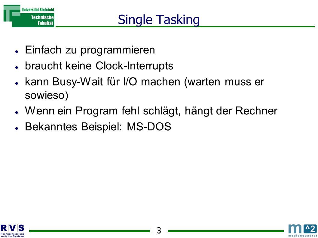 3 Single Tasking ● Einfach zu programmieren ● braucht keine Clock-Interrupts ● kann Busy-Wait für I/O machen (warten muss er sowieso) ● Wenn ein Program fehl schlägt, hängt der Rechner ● Bekanntes Beispiel: MS-DOS