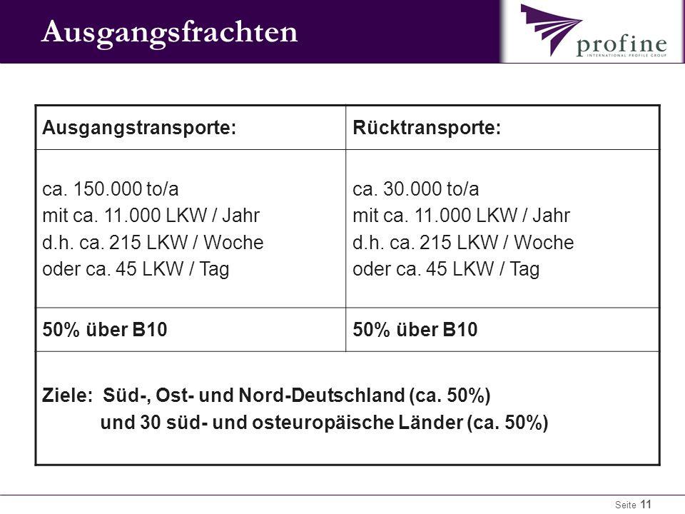 Seite 11 Ausgangsfrachten Ausgangstransporte:Rücktransporte: ca.