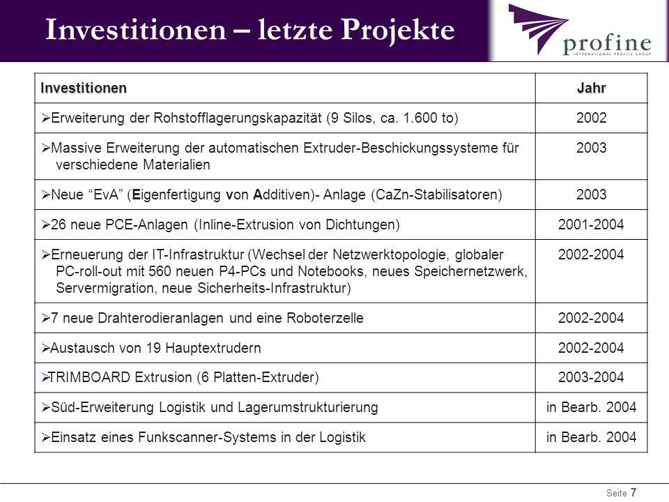 Seite 7 Investitionen – letzte Projekte InvestitionenJahr  Erweiterung der Rohstofflagerungskapazität (9 Silos, ca.