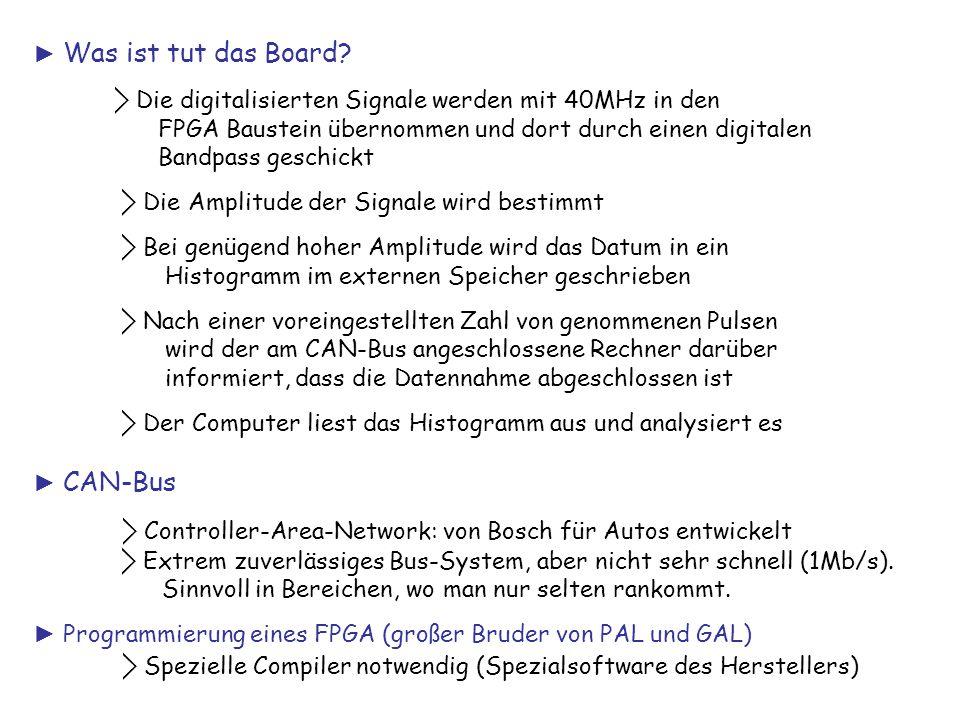 ► Was ist tut das Board? ⃟ Die digitalisierten Signale werden mit 40MHz in den FPGA Baustein übernommen und dort durch einen digitalen Bandpass geschi
