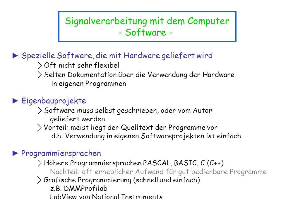 Signalverarbeitung mit dem Computer - Software - ► Spezielle Software, die mit Hardware geliefert wird ⃟ Oft nicht sehr flexibel ⃟ Selten Dokumentatio