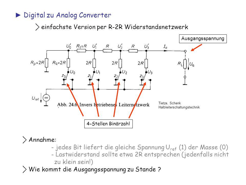 ► Digital zu Analog Converter ⃟ einfachste Version per R-2R Widerstandsnetzwerk Tietze, Schenk Halbleiterschaltungstechnik 4-Stellen Binärzahl Ausgang
