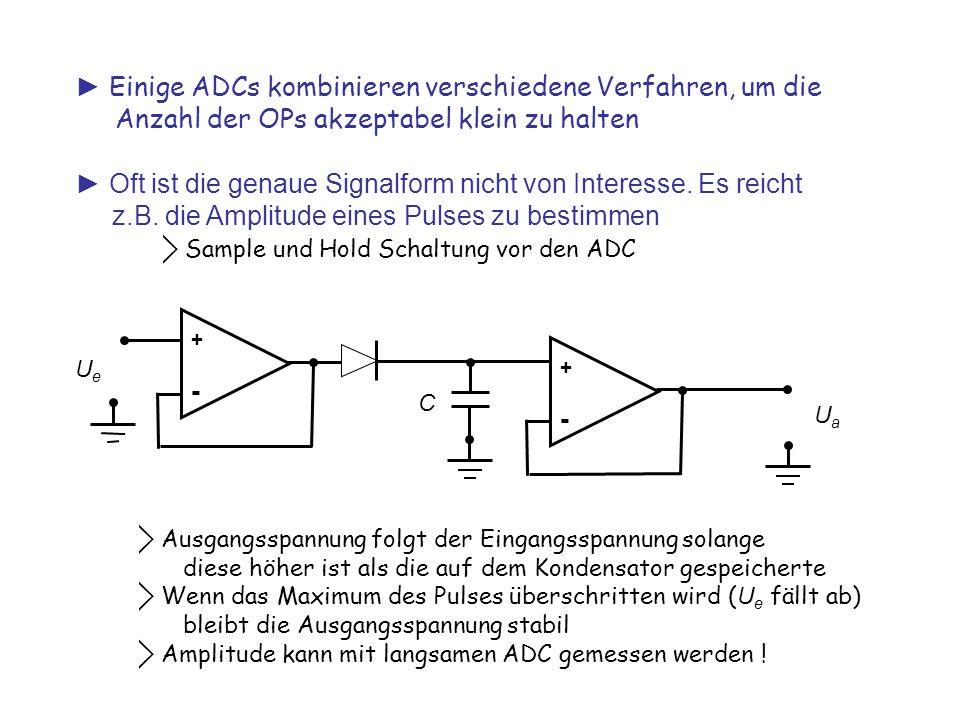 ► Einige ADCs kombinieren verschiedene Verfahren, um die Anzahl der OPs akzeptabel klein zu halten ► Oft ist die genaue Signalform nicht von Interesse