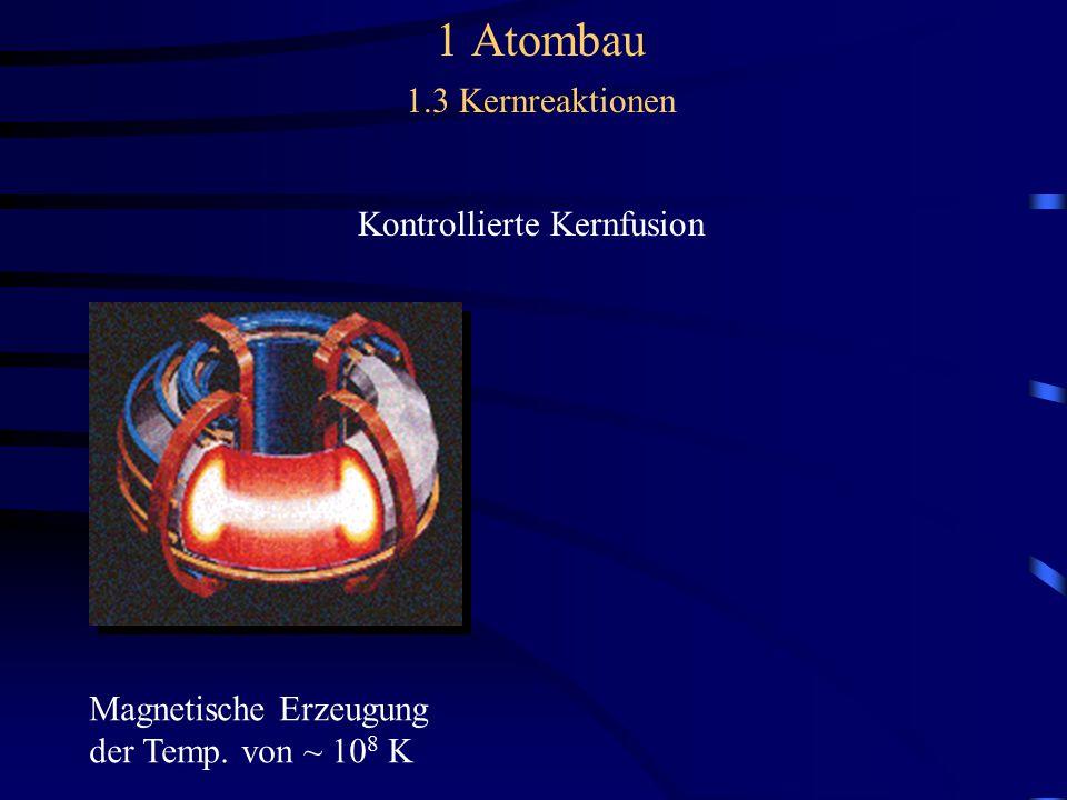 Kontrollierte Kernfusion Magnetische Erzeugung der Temp. von ~ 10 8 K