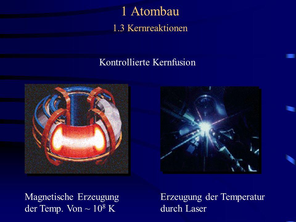 1 Atombau 1.3 Kernreaktionen Kontrollierte Kernfusion Magnetische Erzeugung Erzeugung der Temperatur der Temp.