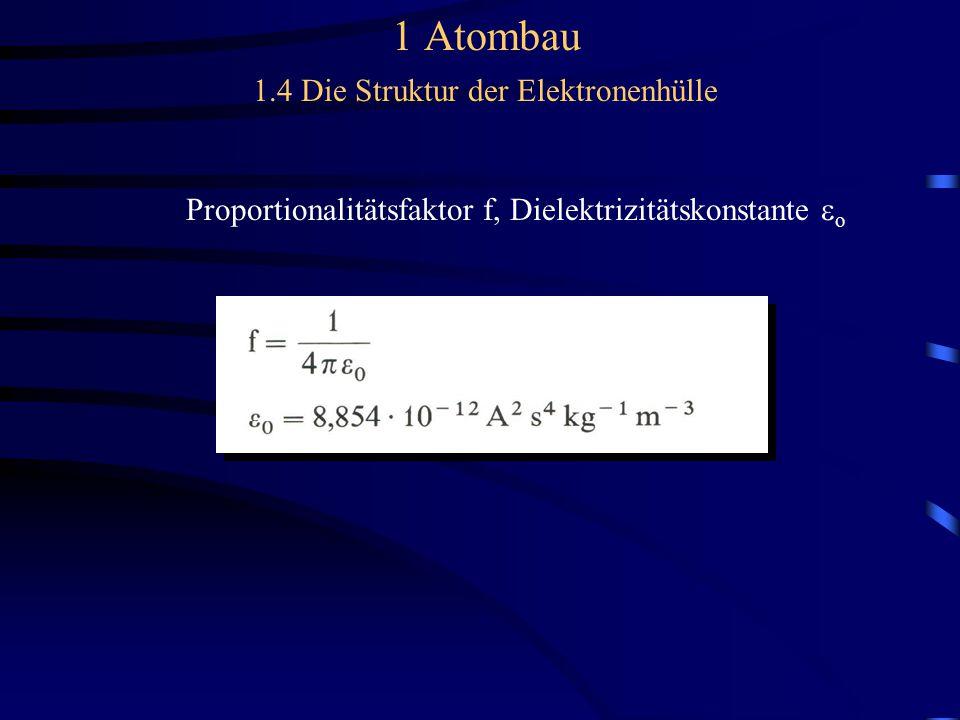 1 Atombau 1.4 Die Struktur der Elektronenhülle Proportionalitätsfaktor f, Dielektrizitätskonstante  o