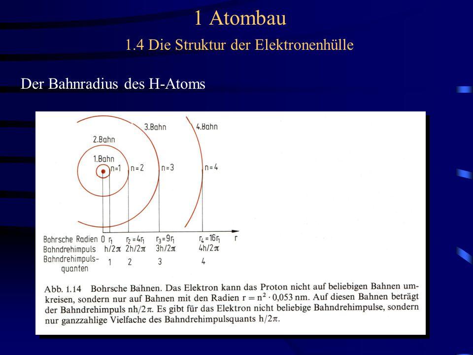 1 Atombau 1.4 Die Struktur der Elektronenhülle Der Bahnradius des H-Atoms