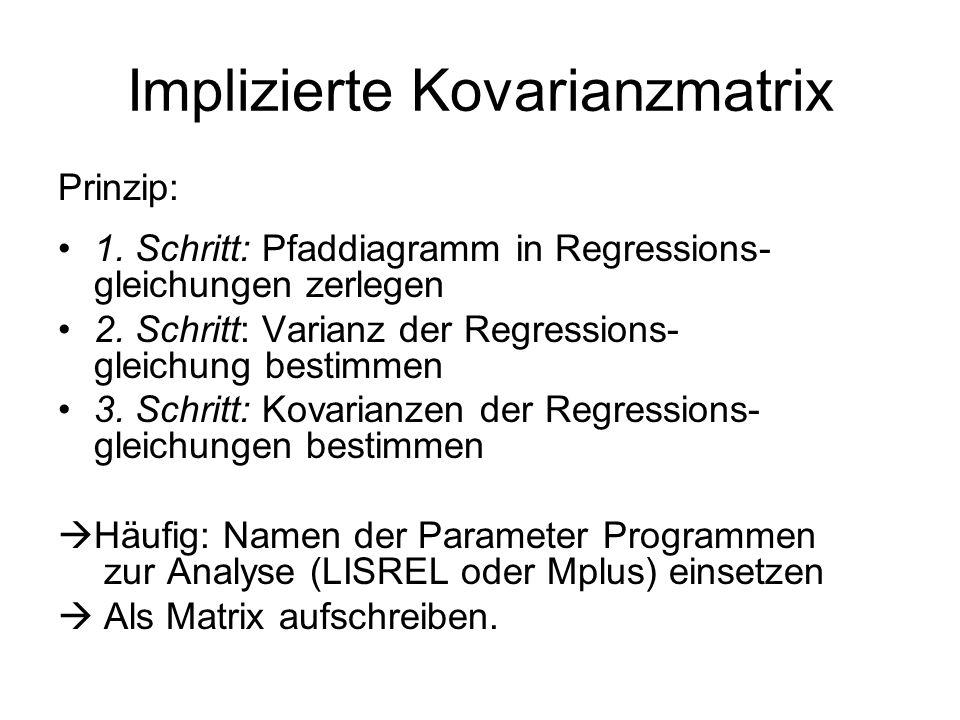 Implizierte Kovarianzmatrix Prinzip: 1. Schritt: Pfaddiagramm in Regressions- gleichungen zerlegen 2. Schritt: Varianz der Regressions- gleichung best