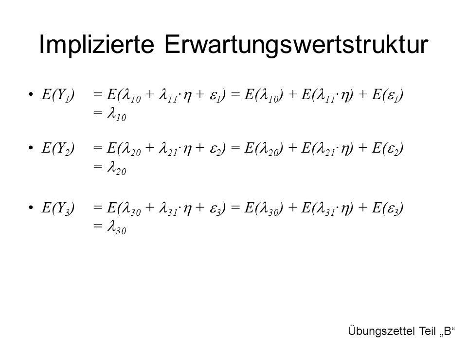 Implizierte Erwartungswertstruktur E(Y 1 ) = E( 10 + 11 ·  +  1 ) = E( 10 ) + E( 11 ·  ) + E(  1 ) = 10 E(Y 2 ) = E( 20 + 21 ·  +  2 ) = E( 20 )