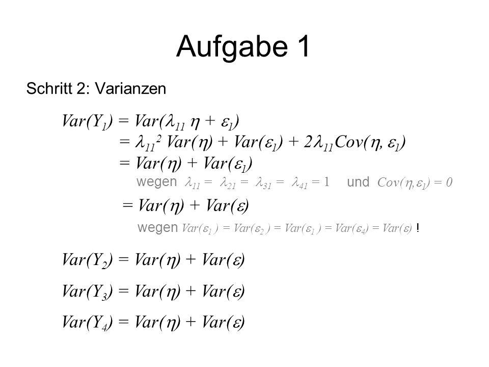 Aufgabe 1 Schritt 3: Kovarianzen Cov(Y 1, Y 2 ) = Cov( 11  +  1, 21  +  2 ) = 11 21 Cov( ,  ) + 11 Cov( ,  2 ) + 21 Cov(  1,  ) + Cov(  1,  2 ) Annahme  Cov(  1,  2 ) = 0 (nicht im Pfaddiagramm) Definition  Cov( ,  1 ) = Cov( ,  2 ) = 0 Definition  11 = 21 = 1 = Var(  ) … Cov(Y 1,Y 3 ) = Cov(Y 1,Y 4 ) = Cov(Y 2,Y 3 ) = Cov(Y 2,Y 4 ) = Cov(Y 3,Y 4 ) = Var(  )